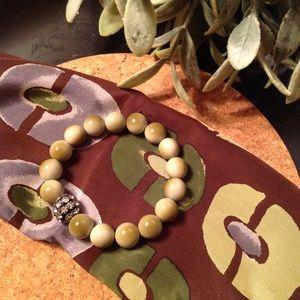 Tan/Green Ombré Bead Bracelet